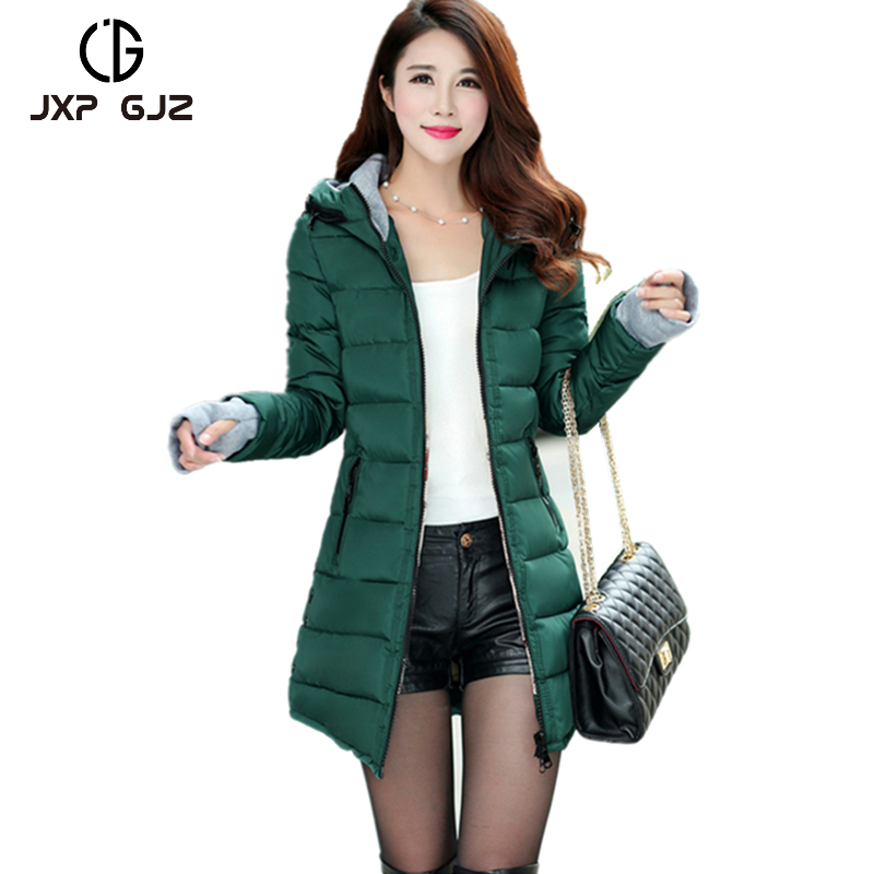 JXP GJZ Winter Women Jacket Coat Parka Black Zipper Full Sleeve Slim Thick Hooded Parkas Regular Plus Size Parkas Femme XXXLÎäåæäà è àêñåññóàðû<br><br>