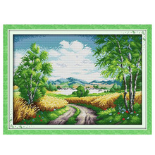 Country Roads Wheat field bumper harvest Scenery Cross stitch kits Set DMC Printed Embroidery DIY Handmade Needlework Wall Decor