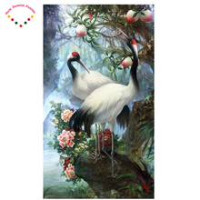 Full diamond embroidery peach peach blossom full diamond painting crane cross stitch diy diamond painting crane round diamond(China)