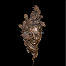 Handmade Classical  Bronze Art Relief Wall Statue Peacock Mask Copper metal wall Sculpture   Coverings CZS-436