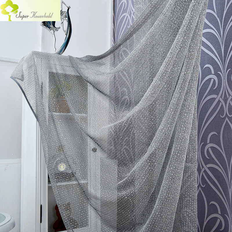 Luxury Lace Jacquard Tulle Window Curtains For Living Room Sheer Curtain Black-White Yarn Curtains for Bedroom Children Blinds