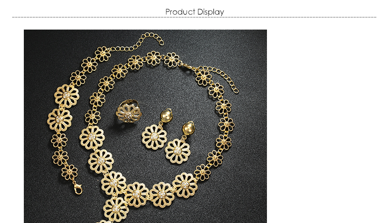 AYAYOO Big Dubai Jewelry Sets For Women Flower Necklace Set Gold Color African Beads Jewelry Set Nigerian Wedding Gift (1)