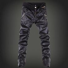 2017 mens skinny jeans overalls motorcycle jeans men pu leather pants patchwork denim biker jeans leather joggers size 28-36(China)