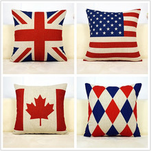cotton cushion case linen pillow cover Canada America British flag Vintage keep calm and carry on(China)