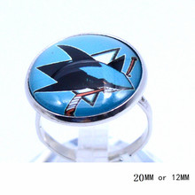 San Jose Sharks Ring Ice Hockey Charms NHL Sport Jewlery Round Glass Dome Silver Plated  Ring For Women Girl Adjustable