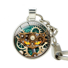 Steampunk Owl Pendant Keychains Steampunk Cat Key Chain Silver Plated Punk Clock Photo Key Holder Best Friends Jewelry Keychain