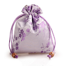 Cherry blossoms Pattern Small Drawstring Bags for Jewelry Packaging Gift Pouch Bunk Silk Satin Trinket Storage Pocket Sachet(China)