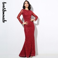 Love&Lemonade Sexy Hot Bead Pads Shoulder Fish Tail Maxi Dresses Red/Silver/Gold LM0235(China)