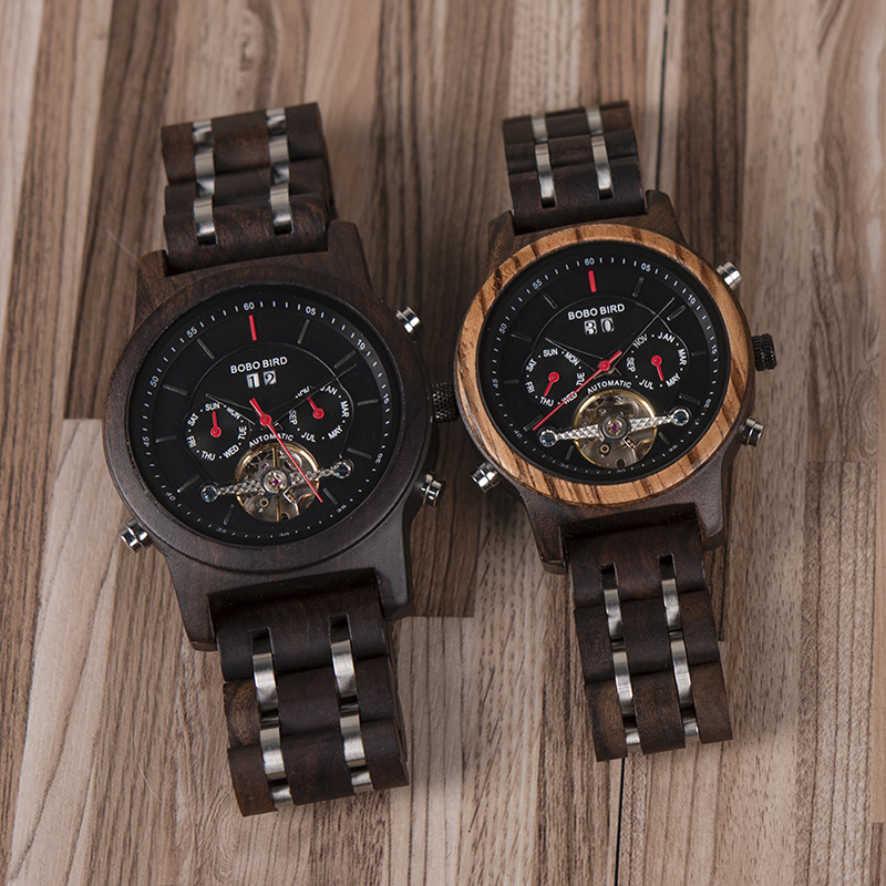 BOBO BIRD Automatic Mechanical Watches Men Wooden Luxury Watch with Calendar Display Multifuctions relogios automaticos mecanic 2