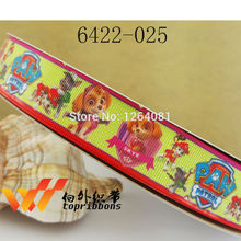 "Free shipping 1"" (25mm) sample gift ribbons Grosgrain printed ribbon Gift packing ribbon 50 yards/roll 6422-025(China)"