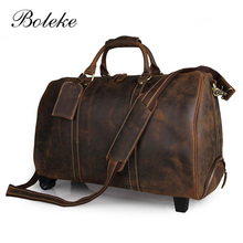 Men Genuine Crazy Horse Leather Overnight Rolling Weekend Travel Duffle Boarding Bag Trolly Luggage Wheeled suitcases 7077L-3