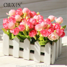 1 Set High Quality Wooden Fence Vase + Flower Rose And Daisy Silk Artificial Flowers Home Decoration Garden Decor Birthday Gift