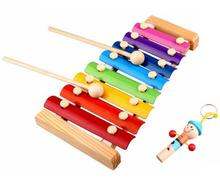 BOHS Melody Xylophone and Whistle, Baby's Early Childhood Education Wooden Musical Instrument Toys Trailer 8 Scales , 24*13cm