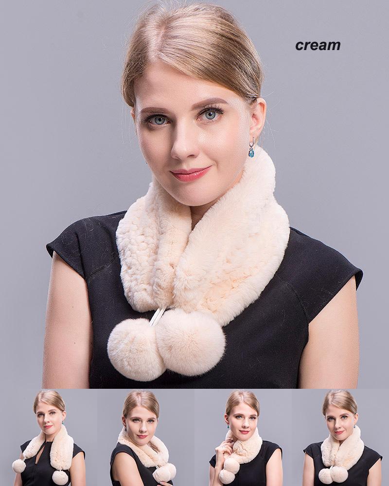 rex rabbit short scarf cream 4