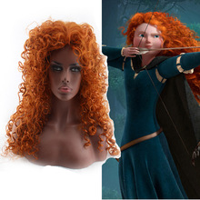 Brave Indomable Pixar Orange Cosplay Wigs Women Costume Curly Fluffy Long Synthetic Wig Heat Resistant Hair(China)
