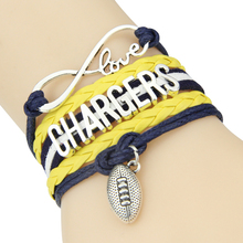Infinity Love San Diego Chargers bracelet NFL sport football team Charm bracelet & bangles for women men jewelry drop shipping