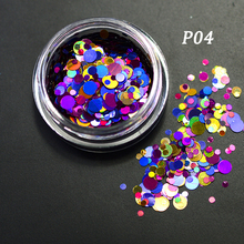 SWEET TREND NEW 1g Mixed Color Nail Art Round Shape Tip Stickers Shining Glitter Dust 3D DIY Nail Art Decoration Tools LAP04