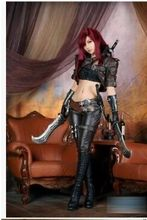 lol cosplay Katarina costume full suit for Halloween leather costumes any size can be Custom made