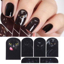 Mysterious Black Cat Nail Water Decal Nail Art Manicure Transfer Sticker Nail Sticker Tattoo Decals Water Slide Decoration(China)