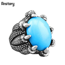 Ancient Design Tibetan Alloy Antique Silver Plated Personality Claw Resin Bead Rings TR349