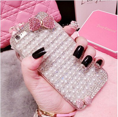 Manual DIY Luxury Pearl Diamond font b Case b font For iphone 5 6 plus font
