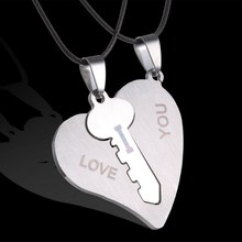 Hot sale Korean Couple Necklaces Set Pendant Necklace Engrave I Love You Matching Hearts Key 316L Stainless Steel(China)