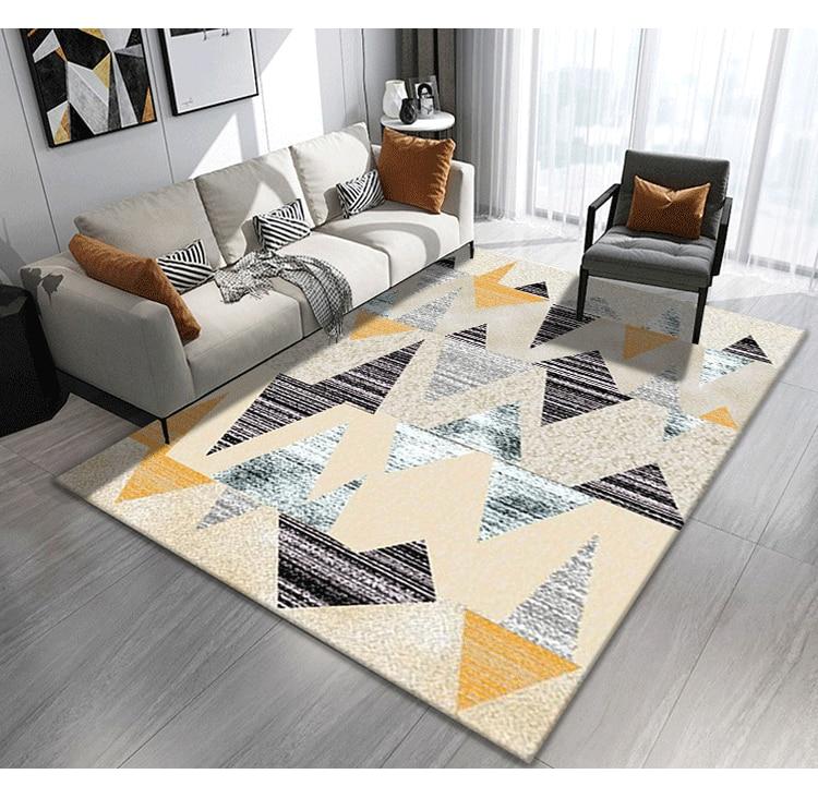 Bohemia Style Washable Triangular Modern Printed Geometric Floor Rug
