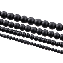 New 5A Quality Black Round Natural Stone Beads For Jewelry Making Diy Bracelet 4MM 6MM 8MM 10MM 12MM Drop Shipping Wholesale(China)