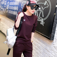 women tracksuit two piece set spring and autumn full sleeve sweatshirt + pants black and red 2 piece set plus size M-4XL 6236(China)