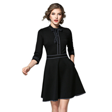 2017 Autumn Elegant Women Dress 3/4 Sleeves Bowknot Black Patchwork Robe Ladies Red Dresses Feminino Plus Size Vestidos BH518A()