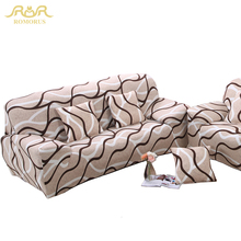 ROMORUS Stripe Tight All-inclusive Sofa Couch Covers Stretch Elastic Wrap Entire Slipcover Single/Two/Three/Four-seat Sofa Cover