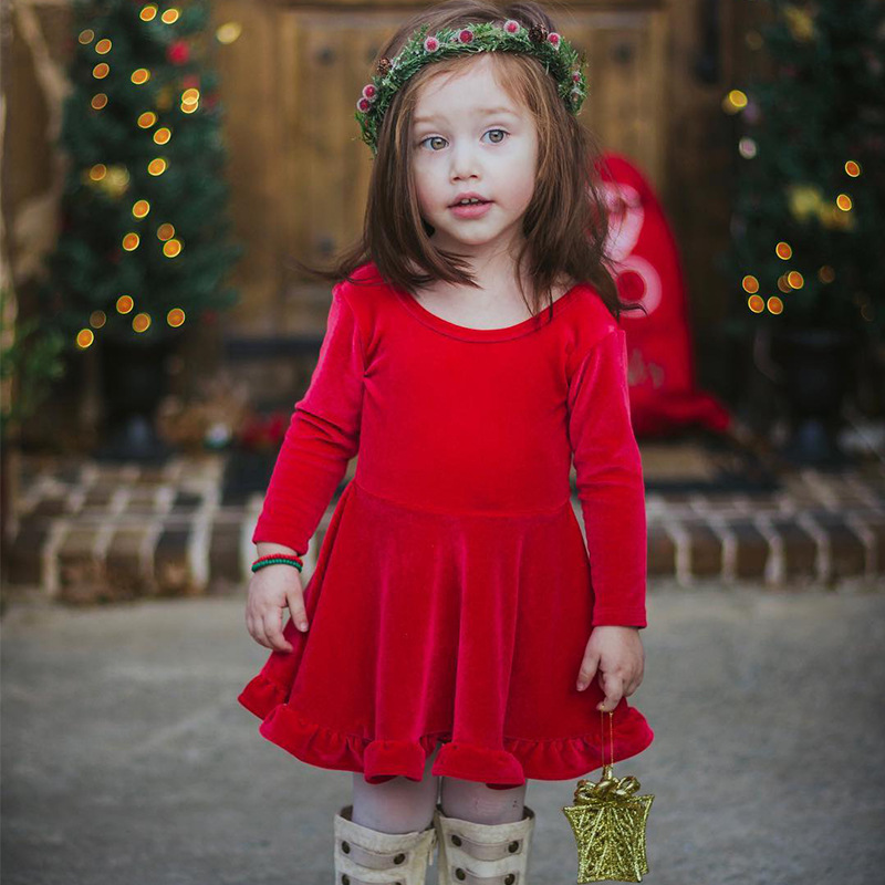 2017 Autumn Winter Girls Christmas New Year Clothes Kid Long Sleeve Christmas Party Dress With Big Bow-tie childrens Clothing<br>