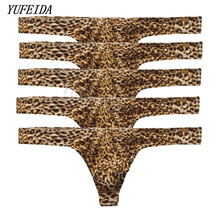 Buy Mens Sexy Underwear Leopard Briefs Men Thongs Low Rise U Convex Pouch String Underwear Men Stretch Breathable Briefs Underpants