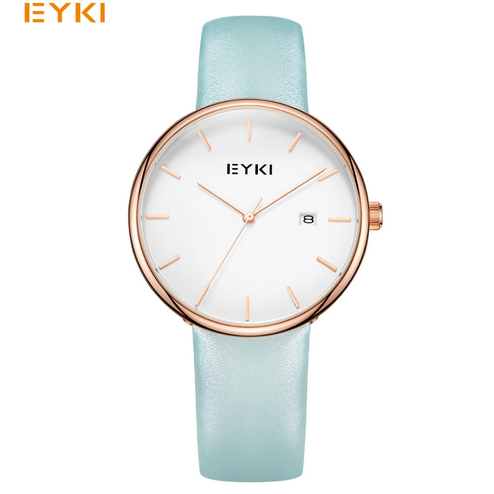 EYKI Women Genuine Leather Quartz Watches Simple Candy Colors Dress Business Watch With Calendar Clock Montre Femme With Box<br>