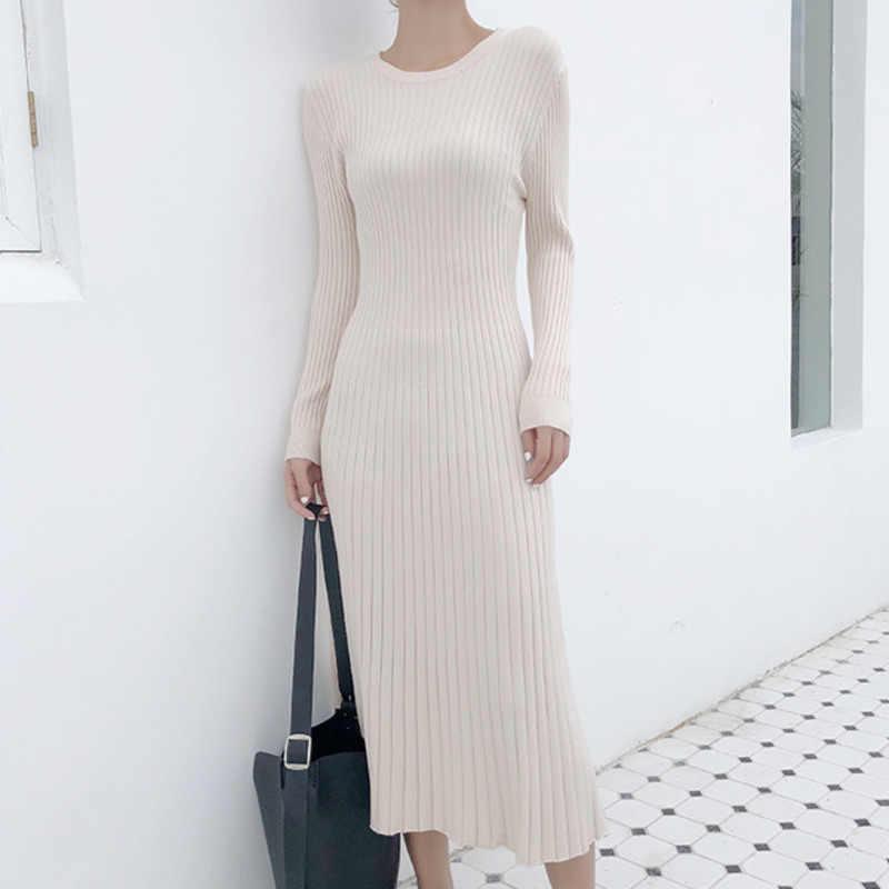 858904d4186 2018 Long Sleeve OL Maxi O-neck Sweater Dress Women Autumn Winter Thick A-