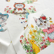 Cute Animal Cat Hand Dyed Digital Printed Cotton Linen Quilting Fabric  DIY Western-style food Mat Apron Bag40cm*40cm