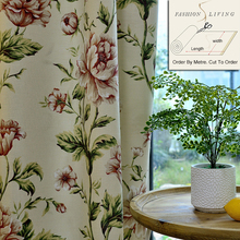 280cm Wide Romantic Seamless Pink Flowers Cotton Linen Blackout Drapery Beige Window Curtains Fabric Tablecloth DIY Craft Fabric