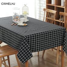 Classic Black/White Plaid Rectangular Table Cloth Linen Cotton Party Household Hotel Restaurant Meeting Decoration Tablecloth(China)