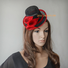 NEW Red black Sinamay Fascinator mini hat for Wedding,Kentucky Derby,Party,Ascot Races,Melbourne Cup.FREE SHIPPING