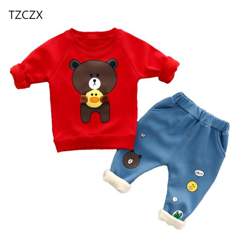 TZCZX-3030 Baby Boys Girls Children Cartoon printing Plus cashmere Full Sleeved Sets For 12 Month to 3 Years Old Kids Two pieces<br>