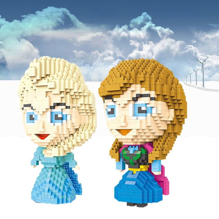 Wise Hawk Micro Blocks Big Size Elsa Building Blocks Anna Juguetes Cartoon Assemblage Toys 3D Auction Figures 2473-2474<br><br>Aliexpress