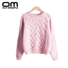 Pull Femme 2016 Autumn Winter Women Sweaters And Pullovers Plaid Thick Knitting Mohair Sweater Female Loose Variegated LMY12(China)