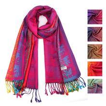 winter women scarf Elephant national wind girl neckerchief Cloth Lady Women Double Sided Elephant National Wind Scarf Wrap Shawl