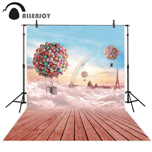 Allenjoy photo backdrop colorful hot air balloon sky pink wood background photo studio photo printer newborn photocall