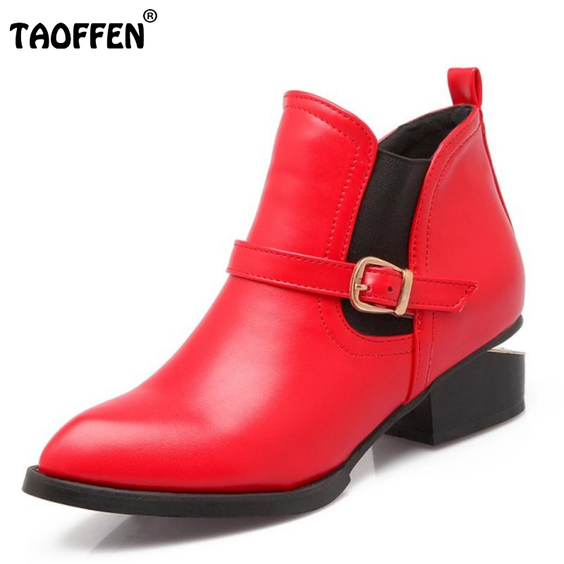 Brand New Women Pointed Toe Ankle Boots Woman Fashion Square Low Heel Shoes Ladies Buckle Style Short Martin Boot Size 32-46<br><br>Aliexpress