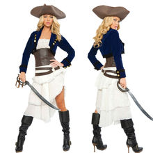 2015 New Adult Womens Sexy Halloween Party Pirate Costumes Outfit Fancy West Cowboy Cosplay Dresses With Hat(China)
