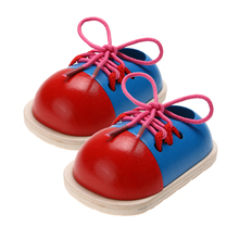 2pcs Baby Wooden Toys Toddler Kids Montessori Educational Toys Lacing Shoes Early Teaching Aids Children Wood Puzzle(China)