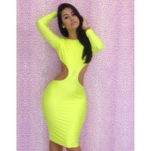 Wonder Beauty Solid Long Sleeve Dress Women Sexy Party Vestidos Summer O-neck Cut Out Backless Nightclub Bodycon Mini Dresses(China)