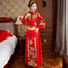 Bride Red Traditional Cheongsam Dress Formal Chinese Qi Pao Wedding Oriental Long Qipao Embroidery Woman Evening Party Dresses