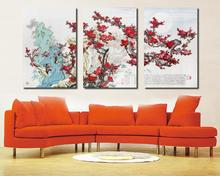 3 piece canvas wall art  Chinese painting Red plum blossom paintings Living room painting Fashion home decoration